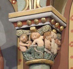 capitel románico con caín y abel