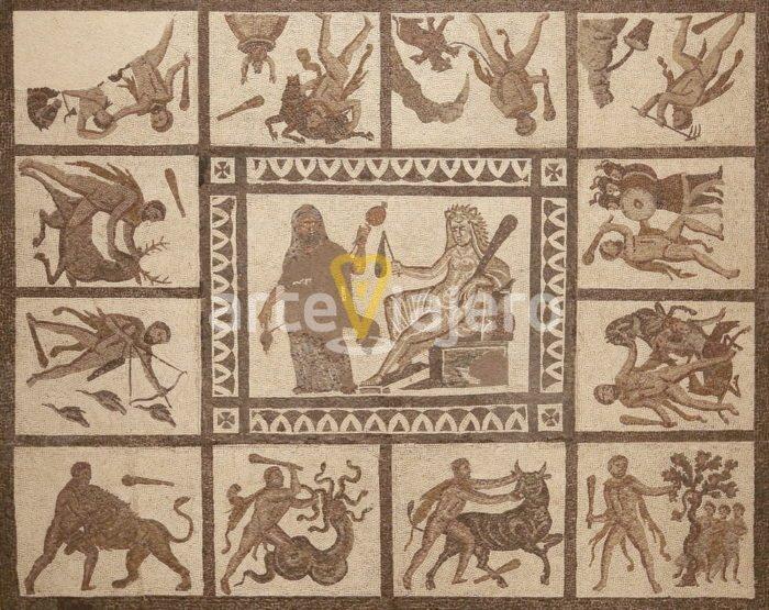 mosaico de los trabajos de hércules
