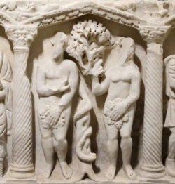 adán y eva, sarcófago paleocristiano