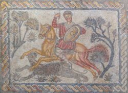 mosaico romano con caza de pantera