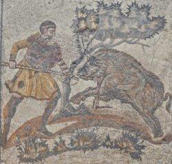 caza del jabalí, mosaico romano