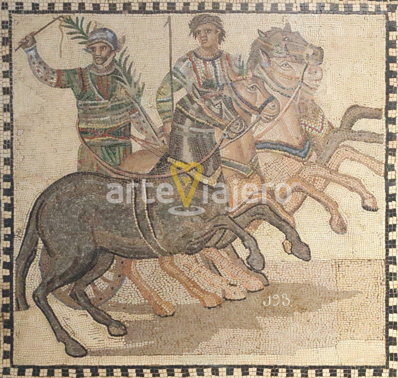 mosaico romano con cuadriga