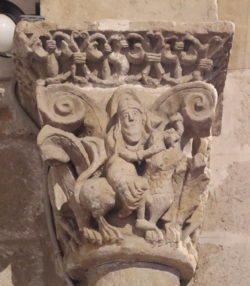 capitel con sansón desquijarando al león, zamora