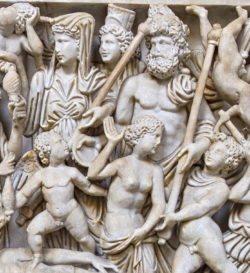 sarcófago romano, museo arqueológico de nápoles