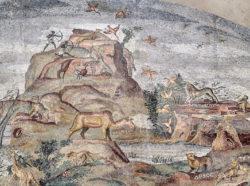 mosaico con escenas de caza