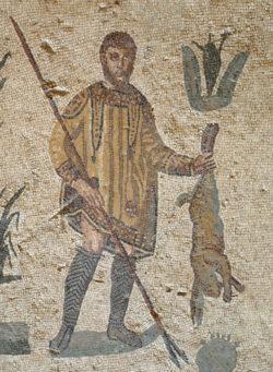 mosaico romano con un cazador