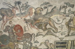mosaico con fieras