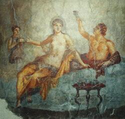 pintura romana con banquete